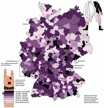 Deutschlandkarte zur Metal-Dichte